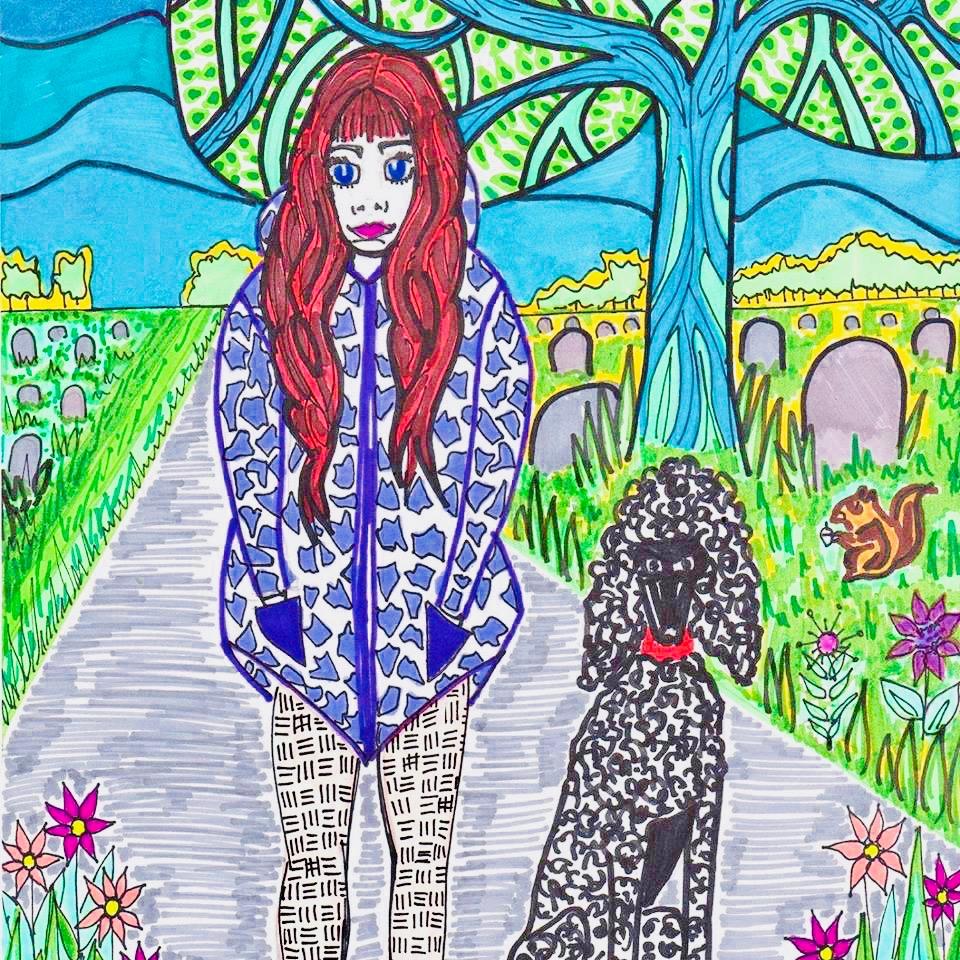 ambassador-charlotte-farhan-self-portrait-with-psychiatric-assistance-dog-amadeus 2