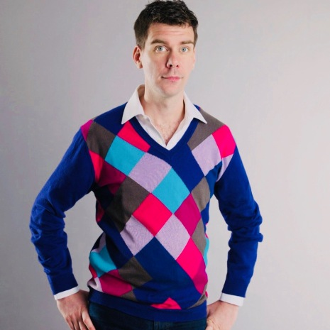 James McIntosh models his own knitting creation